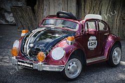 elektromos kisauto VW Bogár 12V bordó metál oldal-elől.jpg